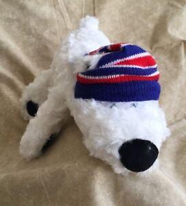 Emrad Creations WHITE Fuzzy Puppy Dog w Toboggan hat Plush Dog w ... 182c11b89cc
