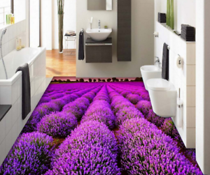 3D Purple Flower Field 8 Floor WallPaper Murals Wall Print Decal AJ WALLPAPER US