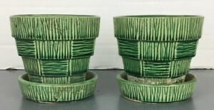 Vintage-McCoy-Pottery-Green-Basket-Weave-4-034-Flower-Pot-Planter-2-Pair-Lot