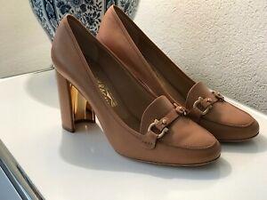 Details zu Salvatore Ferragamo Schuhe Pumps beige braun wie NEU 40,5 10 C