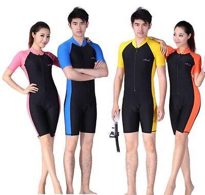 Men Women Floatsuit Diving Skin Short Sleeve Shorty Snorkeling Wetsuit Swimwear