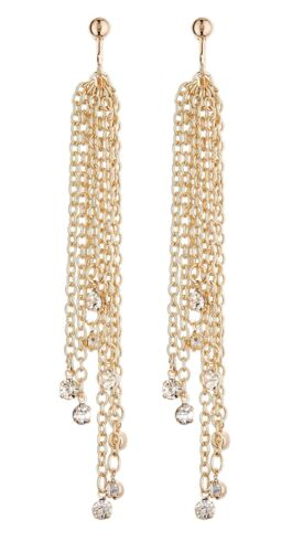 Dana gold dangle earring with long chains and crystals Clip On Earrings