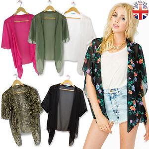Vintage-retro-Casual-mousseline-Veste-Kimono-Cascade-top-cape-blazer-manteau-taille