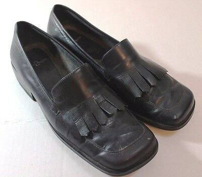 Black Leather Loafers 7.5 M Shoes Fringe Slip On AK Anne Klein 2