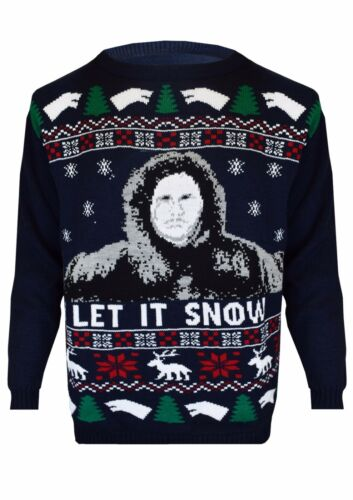 GAME OF THRONES New Season Jon LET IT SNOW Ladies /& Mens Xmas Jumper TOP UK 8-30
