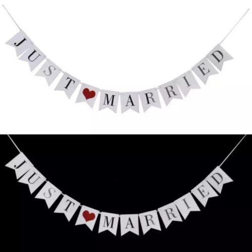 JUST MARRIED BANNER//BUNTING-WEDDING GARLAND-3 M-VINTAGE//WHITE DECORATION HEART