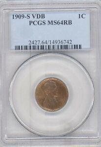 1909-S-VDB-Lincoln-Cent-PCGS-MS-64-RB-Rare