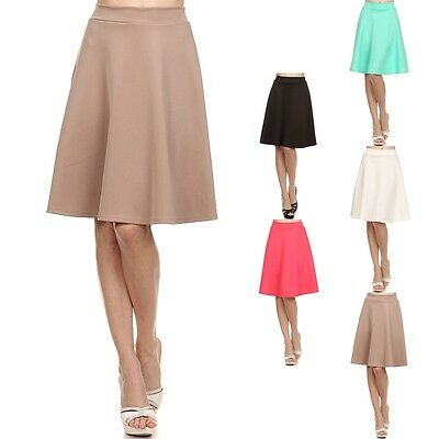 Women' s Solid A-Line Flare MIDI Skirt Mid Length Waist High Waist Spandex S M L