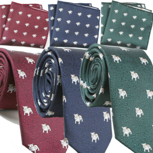 Homme Vert Bulldog tie-cravate mariage Carlin Poche Carré Mouchoir Slim