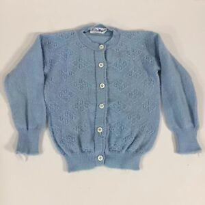 8a663c4de Vintage Baby Girl Cardigan Sweater Light Blue Rosebud Embroidery ...