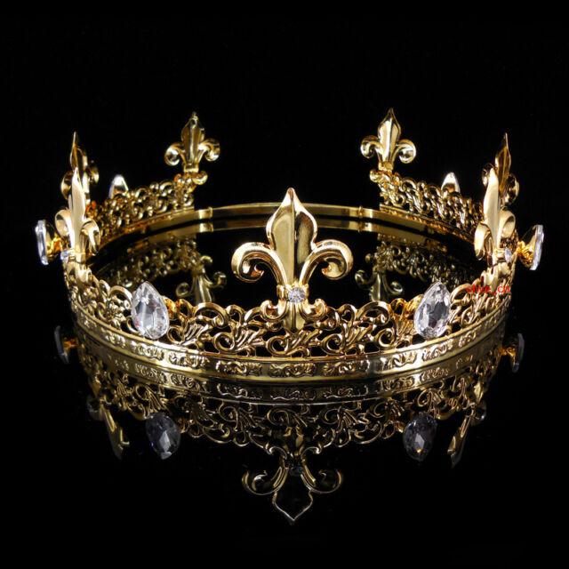 Mens imperial medieval fleur de lis gold king crown 19cm 22cm mens imperial medieval fleur de lis gold king crown 19cm 22cm adjustable 6cm hi thecheapjerseys Image collections