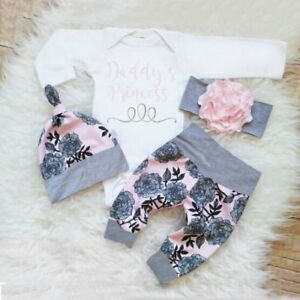 4PCS-Newborn-Infant-Baby-Girl-Outfits-Clothes-Set-Romper-Bodysuit-Pants-Leggings