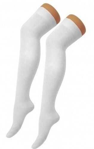Over The Knee Thigh High Plain White Socks Angel School Time Fancy Dress Party