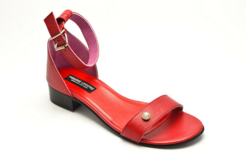 Womens Ladies Sandals Red White Leather Ankle Strap Heels Shoes New Size Fringe