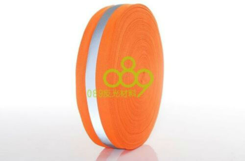 "Silver Reflective Tape Strip Sew-On lime Orange Fabric Safty Vest Width 2/"" B270"