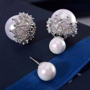 cf2ad037b Image is loading 925-Silver-needle-Women-Crystal-Double-Sided-Pearl-