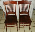Pair of Carved Cherry Sidechairs / Dinette Chairs  (SC44)