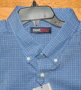 Roundtree Mens LS Black Plaid Travel Smart Shirt 2X B NWT
