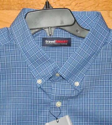 3X B NWT Roundtree Mens SS Lt Purple Navy Plaid Travel Shirt 2X B