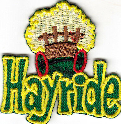 """HAYRIDE"" - Iron On Embroidered Applique Patch/Farm, Party, Vehicle, Autumn"