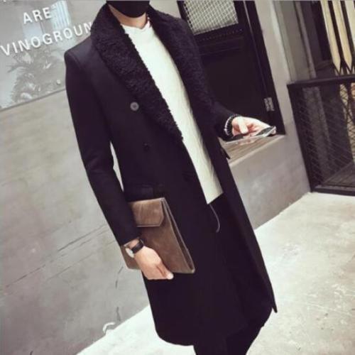 Winter Long Slim Outdoor Business Coat  Stylish Mens Long Fur Collar Trench  2XL