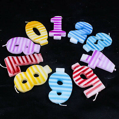 Fancy Stripe Pattern Numbers Candle Birthday Cake Decoration Party Age Set A0121