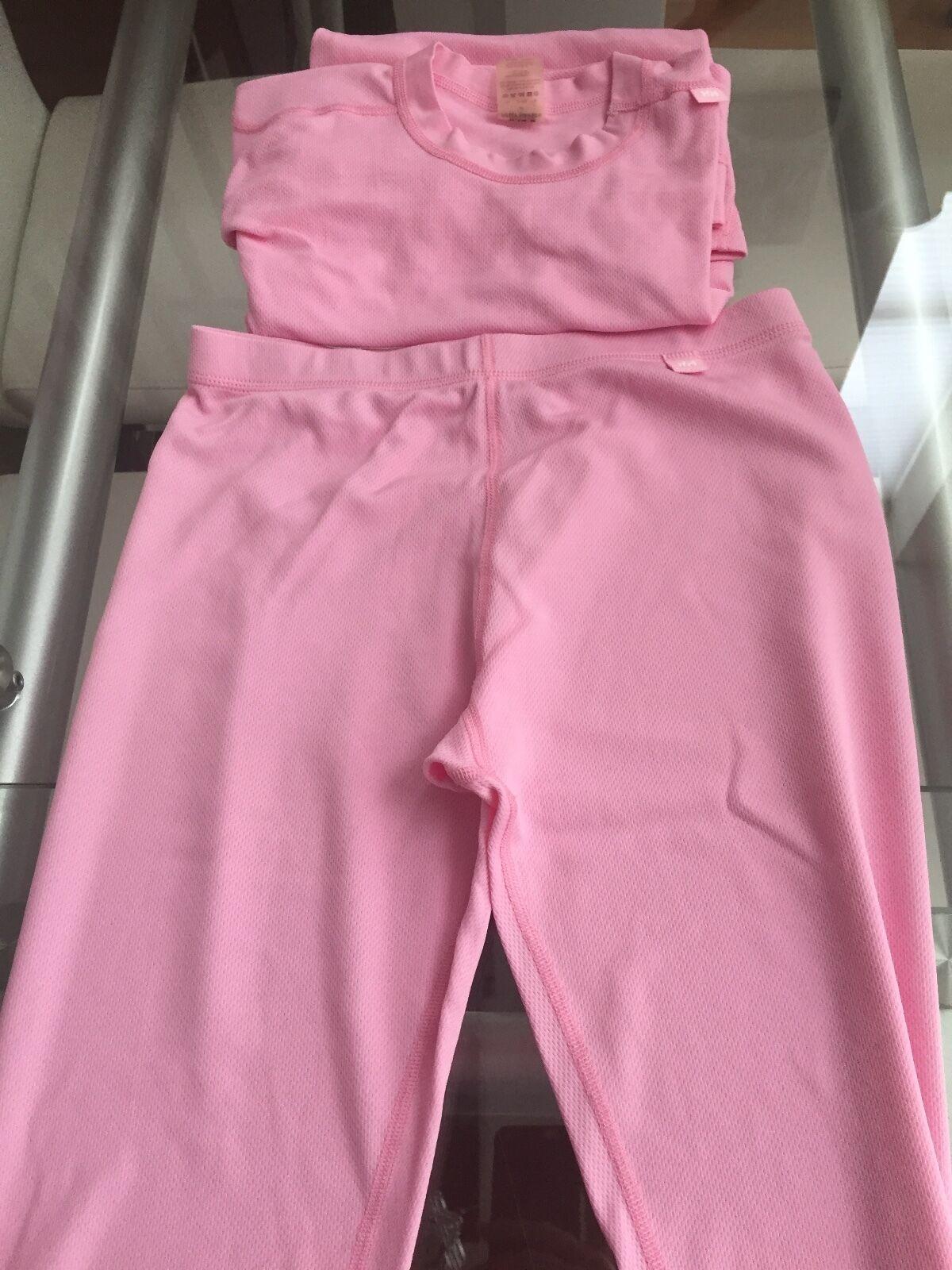 HELLY HANSEN Pink Dry Stripe Thermal Base Layer Ski Run Shirt & Leggings Sz M Re