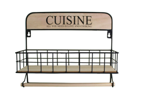 Kitchen-Towel-Roll-Holder-With-Shelf-Wall-Mounted-Spice-Rack
