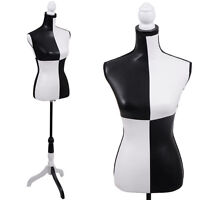 Pu Female Mannequin Torso Clothing Display W/tripod Stand Black And White