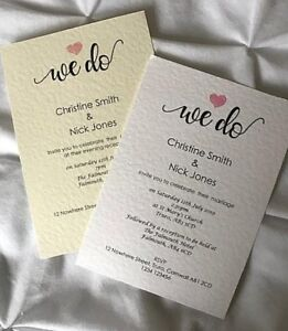 10 Personalised Wedding Blessing//Renewal of Vows Invitations Invites Envelopes