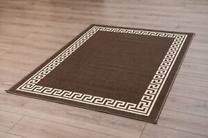 Machine-Washable-Non-Slip-Greek-Key-Kitchen-amp-Hall-Runners-Rugs-Mats-Brown