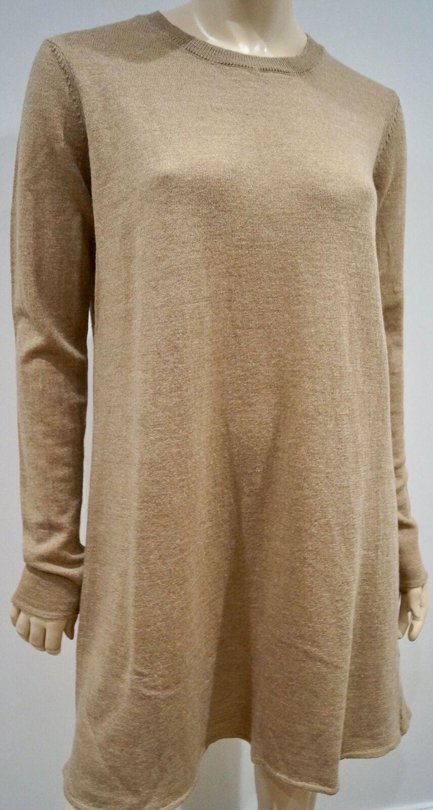 AMERICAN VINTAGE Womens Caramel Beige 100% Wool Short Length Jumper Dress M BNWT