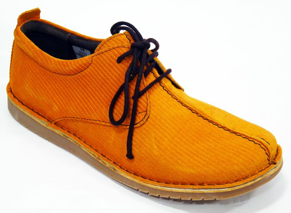 NEW MOD RETRO SIXTIES WOMENS FLATS CORD SHOES Dusty Orange 60s 70s 50s Vintage