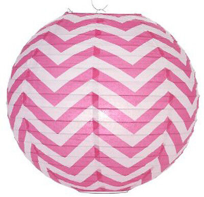 14'' Chinese Japanese Paper Lantern Fuchsia Chevron Home Wedding Party Decor NEW