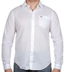 Lacoste Men's Slim Fit Stretch Cotton Voile Woven Shirt CH3937-51 800 White