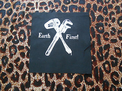 EARTH FIRST! DIY PATCH/animal liberation/alf/green anarchy/vegan/vegetarian/punk