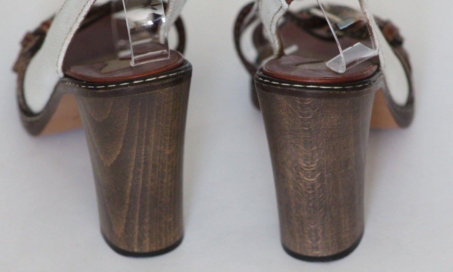 Chloé Cadbury 9.5 Braun Leder Ivory Canvas Slingback Sandale Adjustable Buckles