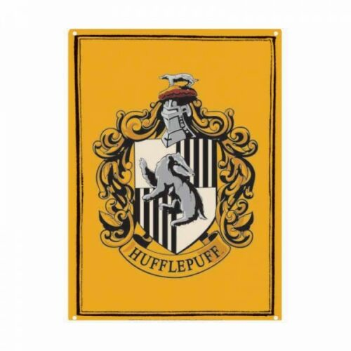 Genuine Harry Potter Hufflepuff Crest Small A5 Steel Sign Tin Wall Door Plaque