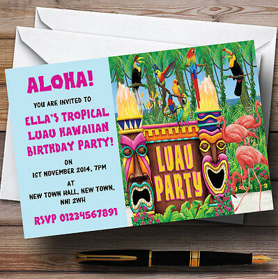 10 x Invitations Turquoise Hawaiian Tropical Luau Personalised Party Invites Any Wording