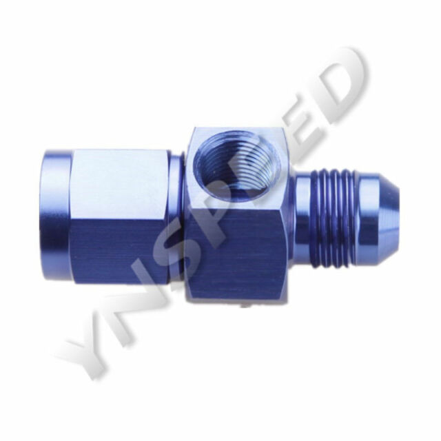 "AN10 AN-10 Male To 10AN Female With 1/8"" NPT Gauge Port Adapter Aluminum Blue"