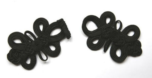 Two extra large black Chinese Frogs fasteners macrame closure knot buttons