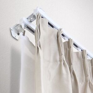 Double Curtain Track Kit 16 FT Composed Of Four 8ft White Wall Mount