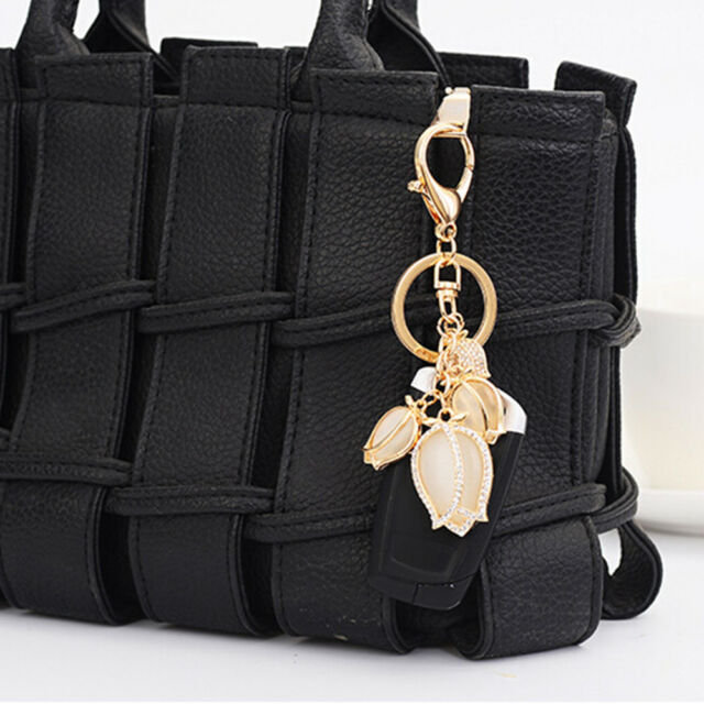 Popular Alloy Tulip Flower Key Chain Opal Handbag Pendant Keychain Gift Women t
