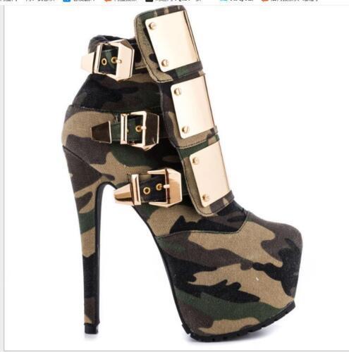 Platform Camouflage Metal Buckle Women/'s Round Toe Slim High Heels Shoes Ths01