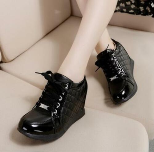 Womens Casual Hot Lace Up Checker Sneakers High Top Hidden Wedge Heel Trainers