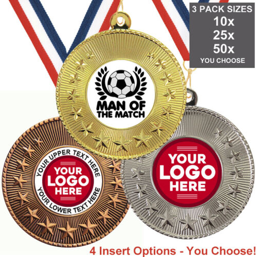 FOOTBALL MAN OF THE  MATCH METAL MEDALS 50mm PACK OF 10 RIBBONS INSERTS LOGO