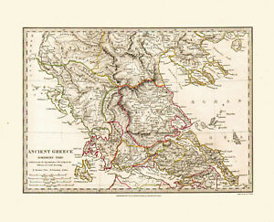 Ancient Greece Map Outline.1829 Sduk Hand Colored Outlined Map Of Ancient Greece Great Detail