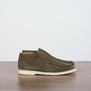 LORO-PIANA-995-NEW-Open-Walk-Ankle-Boots-In-Yerba-Green-Suede-Calf-Skin