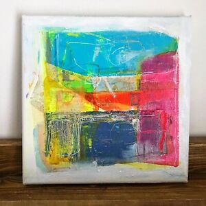 """Original Abstract Cubism Acrylic Pastel Painting  Canvas 8 x 8"""" Signed Fine Art"""