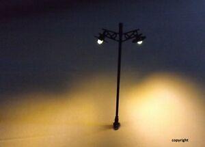 6-Stueck-Nr-11-Modellbahnlampen-Bahnhofsleuchten-mit-LED-Strassenlampe